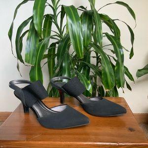 Black sling back low heel